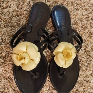 Chanel Jelly White Camellia Sandals